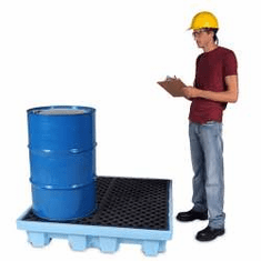 Ultra Fluorinated Poly Spill Pallets For Chlorinated Solvents 4-drum With Drain Plug