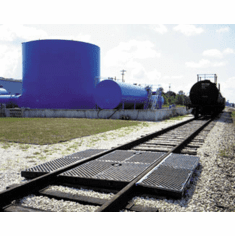 Ultra-TrackPans for Railcar Spill Containment WIth Grates and Covers