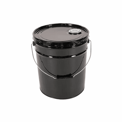 Unlined Rust-Inhibitor 5 Gallon Open-Head Steel Pails & Covers Black