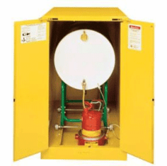Vertical Storage Self Closing Justrite Safety Drum Storage Cabinets 1-55 gal.