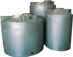 Water Storage tanks by Poly-Mart®  | 5 Year Manufacturer Warranty | Vertical Storage Tanks  with Manway Cover, Inlet Bulkhead, & Outlet Bulkhead