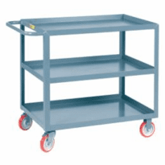 "Welded Service Carts w/ Flush Top & Middle Shelves 3 Shelves  24"" x 48"""