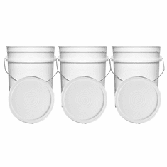 """White 5 Gallon Buckets and Flat Lids  Food Grade Combo 3 Pack <Font color=""""red""""> Special Combo Free Shipping</font>"""