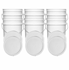 """White 5 Gallon Buckets and Flat Lids  Food Grade Combo 6 Pack <Font color=""""red""""> Special Combo Free Shipping</font>"""