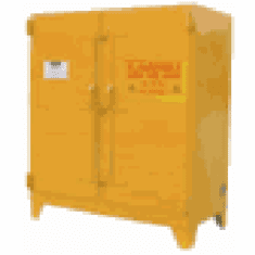 WILRAY Heavy-Duty Safety Cabinets Horz. 2 Drum 2 Shelves-yellow