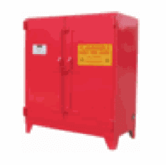 WILRAY Heavy-Duty Safety Cabinets Vert. 2 Drum 0 Shelves-red