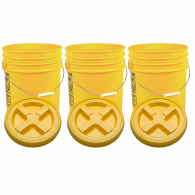 "Yellow 5 Gallon Plastic  Buckets and Gamma Seal Lids  Food Grade Combo 3 Pack <Font color=""red""> Special Combo Free Shipping</font>"