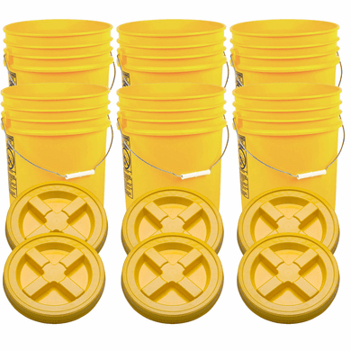 """Yellow 5 Gallon Plastic  Buckets and Gamma Seal Lids  Food Grade Combo 6 Pack <Font color=""""red""""> Special Combo Free Shipping</font>"""