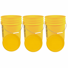 """Yellow 5 Gallon Buckets and Flat Lids  Food Grade Combo 3 Pack <Font color=""""red""""> Special Combo Free Shipping</font>"""