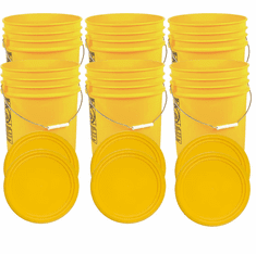 """Yellow 5 Gallon Buckets and Flat Lids  Food Grade Combo 6 Pack <Font color=""""red""""> Special Combo Free Shipping</font>"""