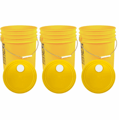 """Yellow 5 Gallon Buckets and Spout Lids  Food Grade Combo 3 Pack <Font color=""""red""""> Special Combo Free Shipping</font>"""