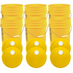 """Yellow 5 Gallon Buckets and Spout Lids  Food Grade Combo 6 Pack <Font color=""""red""""> Special Combo Free Shipping</font>"""