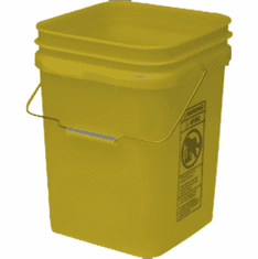 "Yellow Econ Square 4 Gallon Plastic Bucket, 18 Pack<br><font color=""#FF0000"">Free Shipping</font>"