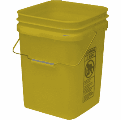 Yellow Economy Square 4 Gallon Plastic Bucket, 18 Pack