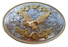 American Bald Flying Eagle Gold and Silver Plated Western Belt Buckle