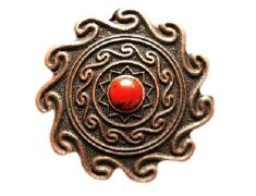 BEAUTIFUL DETAILED RED STONE DOT FLOWER FLORAL WESTERN BELT BUCKLE