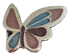 Belt Buckle Butterfly Glitter Insect Colorful Pink Blue Butterflies Wings