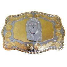 Belt Buckle Jesus Father Religious Christianity Gold Tone Buckles