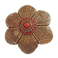 Classy Bronze Colored Floral Flower Red Stone Antique Brass Belt Buckle