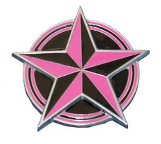 Pink And Black 5 Point Rock Nautical Star Belt Buckle!