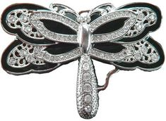 Dragonfly Fashion Insect Black Belt Buckle Rhinestone Cool Dragonflies Belts Buckles
