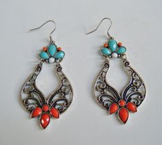Blue Red Turquoise Colored Dangle Gypsy Style Fashion Earrings Jewlery