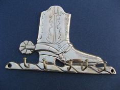BRASS BOOT WESTERN COWBOY COWGIRL SPUR RODEO KEY RACK