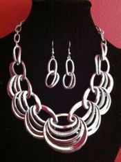 BRIDE PROM JEWELRY SET BIG NECKLACE EARRINGS FASHION COLLIER BOUCLE D'ORREILE