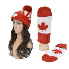 Canada Canadian Maple Leaf Red White Unisex Knitted Hat Winter Hat Gloves Mitts