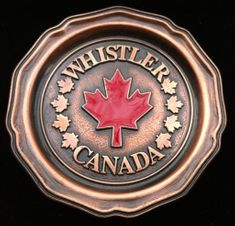 CANADA RED MAPLELEAF WHISTER B.C. VANCOUVER SOUVENIR COASTER