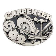 CARPENTER BELT BUCKLE CARPENTRY CIRCULAR HAND SAW HAMMER TRADES PROFESSIONS TOOL QUALITY BELTS & BUCKLES