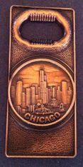 CHICAGO CITY SKYLINE TOWERS SOUVENIR METAL BOTTLE OPENER BEER OUVRE BOUTEILLE