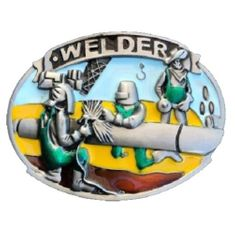 Colorful Welder Machinists Working Machinery Tools Belt Buckle Buckles