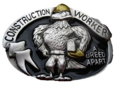 Construction Worker Hard Hat Lunch Box Eagle Work Union Profession Belt Buckle Buckles
