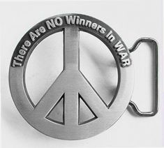 THERE ARE NO WINNERS IN WAR SAYING PEACE LOVE SYMBOL SIGN VINTAGE BELT BUCKLE