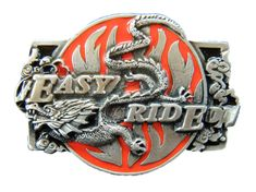 EASY RIDE CHINESE DRAGON FLAMES MOTORCYLE RIDER BELT BUCKLE BELTS BUCKLES