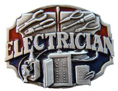 ELECTRICIAN TOOLS ELECTRICITY WIRE PEWTER BELT BUCKLE