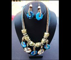 Fashion 3 Strand Silver Gold Blue Toned Bold Coil Statement Necklace Earring Set