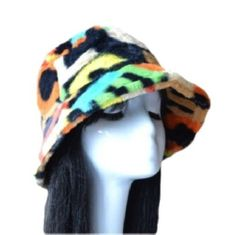 Faux Fur Women's Funky Colorful Winter Bucket Hat Thick Warm Outdoor