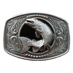 Sport Fishing Belt Buckle Trout Salmon Fly Fishing Angler Fish