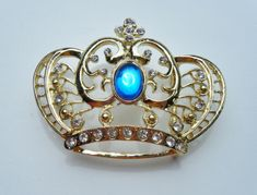 GOLD CROWN BLUE STONE QUEEN KING ROYALTY BELT BUCKLE