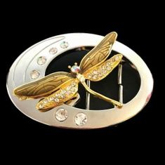 Gold Toned Dragonfly Rhinestones Insect Belt Buckle Belts Buckles