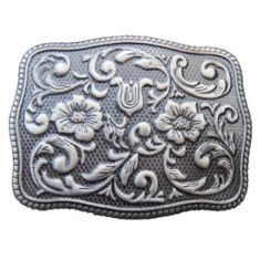Grey Flowers Western Cowgirl Rodeo Antique Silver Belt Buckle Buckles