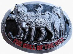 GREY WOLF PACK WILD ANIMALS FULL MOON PEWTER BELT BUCKLE WOLVES BELTS BUCKLES