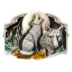 GREY LONE WILD WOLF WOLVES FULL MOON PEWTER BELT BUCKLES