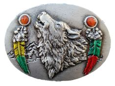 HOWLING WOLF BELT BUCKLE GREY WILD INDIAN FEATHERS LONE WOLVES BUCKLES