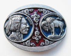 INDIAN NATIVE NICKEL BUFFALO COIN RED BLUE  METAL BELT BUCKLE