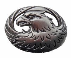 Indian Wild Eagle Head n Feathers 3d Pewter Belt Buckle