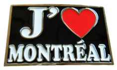 J'AIME I LOVE MONTREAL FRENCH QUEBECOIS QUEBEC RED HEART FUN BELT BUCKLE