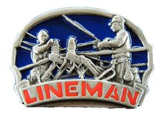 LINEMAN ELECTRICITY TELEPHONE TOOLS PEWTER BELT BUCKLE